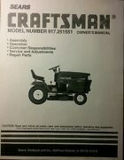 Sears Craftsman 22.5 Hp 6sp 50 Garden Tractor Owner, Parts And Service 2 Manuals