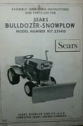 Sears Dozer Plow Blade Implement Garden Tractor Owner And Parts Manual 917.251410