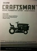 Sears Craftsman 22.5 6sp Garden Tractor And50 Mower Owner And Part Manual 917.251551