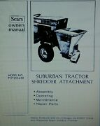 Sears Suburban Garden Tractor Chipper Shredder Implement Owner And Parts Manual Ss