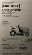 Sears Craftsman 22.0 H.p 42 Hydro Lawn Tractor 917.273780 Owner And Parts Manual