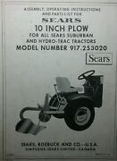 Sears 10 Turnover Plow Implement Garden Tractor Owner And Parts Manual 917.253020