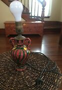 Antique Vintage Red Green Yellow Table Lamp Made In Italy Unique