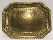 Antique 19th C. Islamic Persian Chased Brass Tray Platter Rooster Bird 11