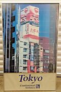 Vintage Continental Airlines Tokyo Airport Poster Collectible 25x 40