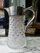 Nice Old James Dixon And Sons Sterlin Silver Cut Glass Decanter Pitcher Jug