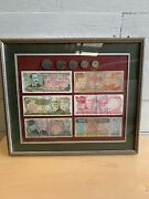 Costa Rica Framed Colones 5 50 100 500 1000 5000 Coins 20 10 5 2 1