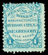 Scott Ro107a 1862 1c Henning And Bonhack Matches Revenue On Old Paper F Cat 350