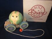 Briere Folk Art Pull Toy 1993 Dressed Bunny Rabbit And Cart / Cradle 406 Exc Box