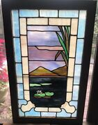 Lily Pad And Cattail Stained Glass Window