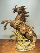 50 Cm Chinese Wucai Porcelain And Pottery Fengshui Horse Rise In The World Statue