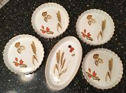 Royal Worcester - 5 Pc Set Of Wild Harvest Serving / Baking Dishes Wheat Nuts
