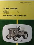 John Deere 140 Lawn Garden Tractor Owners And Predelivery 2 Manuals S/n 0 12hp
