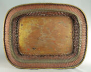 Antique Fine 1800's Chinese Lg Woven Copper And Brass Tea Tray Platter