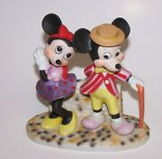 Mickey And Minnie Mouse Ceramic 6 Figurine W Disney Productions Japan Vintage