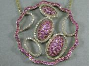 Modern Scalloped Diamond Pink Sapphire 14k Y Gold Circle Discs Necklace N57952yp