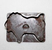 Primitive Antique Lion Flat Back Tin Cookie Cutter With Finger Hole And Handle