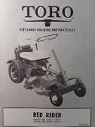 Toro Red Rider Riding Lawn Mower Tractor 51013 51053 4 5 Hp Parts Catalog Manual