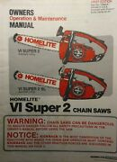 Homelite Vi Super 2 And Super 2 Sl Chain Saw Owner And Parts 2 Manual S Chainsaw