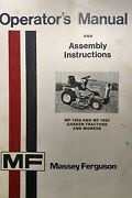 Massey Ferguson 1450 1650 Garden Tractor And Mf 4810 5405 Mower Owners Manual 46p