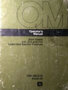 John Deere 200 210 212 214 Lawn Garden Tractor And Implements Owners 5 Manuals