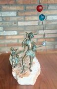 Rare Vintage Signed Curtis Jere Pied Piper Bronze Sculpture Onyx Base
