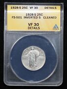 1928-s Standing Liberty Quarter Inverted Mint Mark Anacs Vf-30 Cleaned