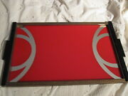 Rare Vintage 1930's Art Deco Reversed Painted Mirror Serving Tray