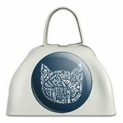 Meow Cat Kitten Kitty Silhouette White Metal Cowbell Cow Bell Instrument