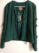 Double D Ranch Womens Jacket Xs Green Suede Leather Floral Accents Satin Lined