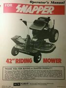 Snapper 1978 Rer 42 Riding Lawn Mower Tractor Owner Service And Parts Manual