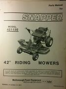 Snapper 42113s 42 Riding Lawn Mower Tractor Parts Manual 1981 Rear Engine
