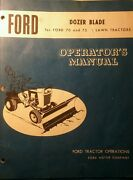 Ford 70 75 Lawn Tractor Riding Dozer Snow Plow Implement Owner And Parts Manual