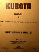 Kubota B6000 Diesel 4x4 Farm Tractor K Tiller Implement Owner And Parts Manual