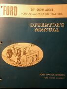 Ford 70 75 Lawn Tractor Snow Thrower Implement And Pto Owner And Parts 2 Manual S