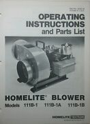 Homelite Blower Gas Pto And Electric Owner And Parts 3 Manuals 8pg Construction