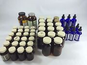 Brown/amber/blue Glass Bottles Empty Blue W/droppers 346 2/4oz. Homeopathy