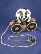 Briere Folk Art Pull Toy 1988 Cow Ball And Cart / Cradle 493 Excellent