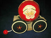 Briere Folk Art Pull Toy 1988 Mrs Santa Claus / Mrs Claus Ball And Cart 346 Exc