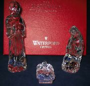 Waterford Crystal Nativity Holy Family Joseph Mary Jesus Excellent In Red Box