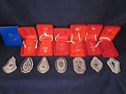 Waterford Crystal Annual Christmas Ornament Complete Set Of 7 W/ 1982 Partridge