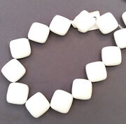 2 Strands 14mm Flat Diamond Sea Glass Frosted Bead Alabaster