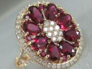 Large Modern 4.93ctw Diamond Ruby 14k Rose Gold Oval Cluster Band Ring Eer01306r