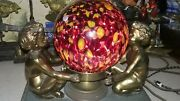 Vintage Victorian Cherub Table Lamp End Of The Day Glass Shade Murano Czech