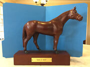 Vintage Man O War Horse Statue/figurine Carved Wood Marshall Fields Exclusive