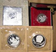1993 Chinaprc 10 Yr. Rooster Proof Lunar 32mm 1oz Silver Coin With Coa And Box