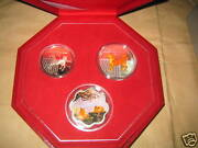 2006 Singapore Yr.dog Color Proof Silver Coins Set With Coa And Box