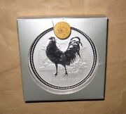 2005 Australia Lunar Year Of The Rooster 5 Oz 8 D Bu Silver Coin With Box