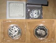2000 China Prc 10 Yr.dragon Proofppflower Shaped Silver Coin With Coa And Box