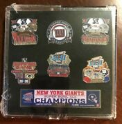 Lot Of Six 6 2007 Ny Giants Wildcard, Playoffs And Superbowl Xlii 42 Champs Pins